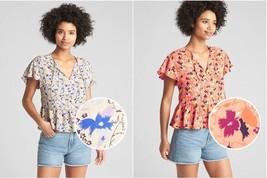 Gap Women Blouse Top S M Floral Off White Pink Peplum Short Sleeve Neck Tie New - $29.99