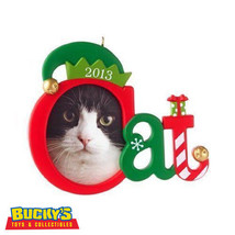 Cute Kitty 2013 Hallmark Cat Photo Holder Ornament Candy Cane Jingle Bel... - $12.81
