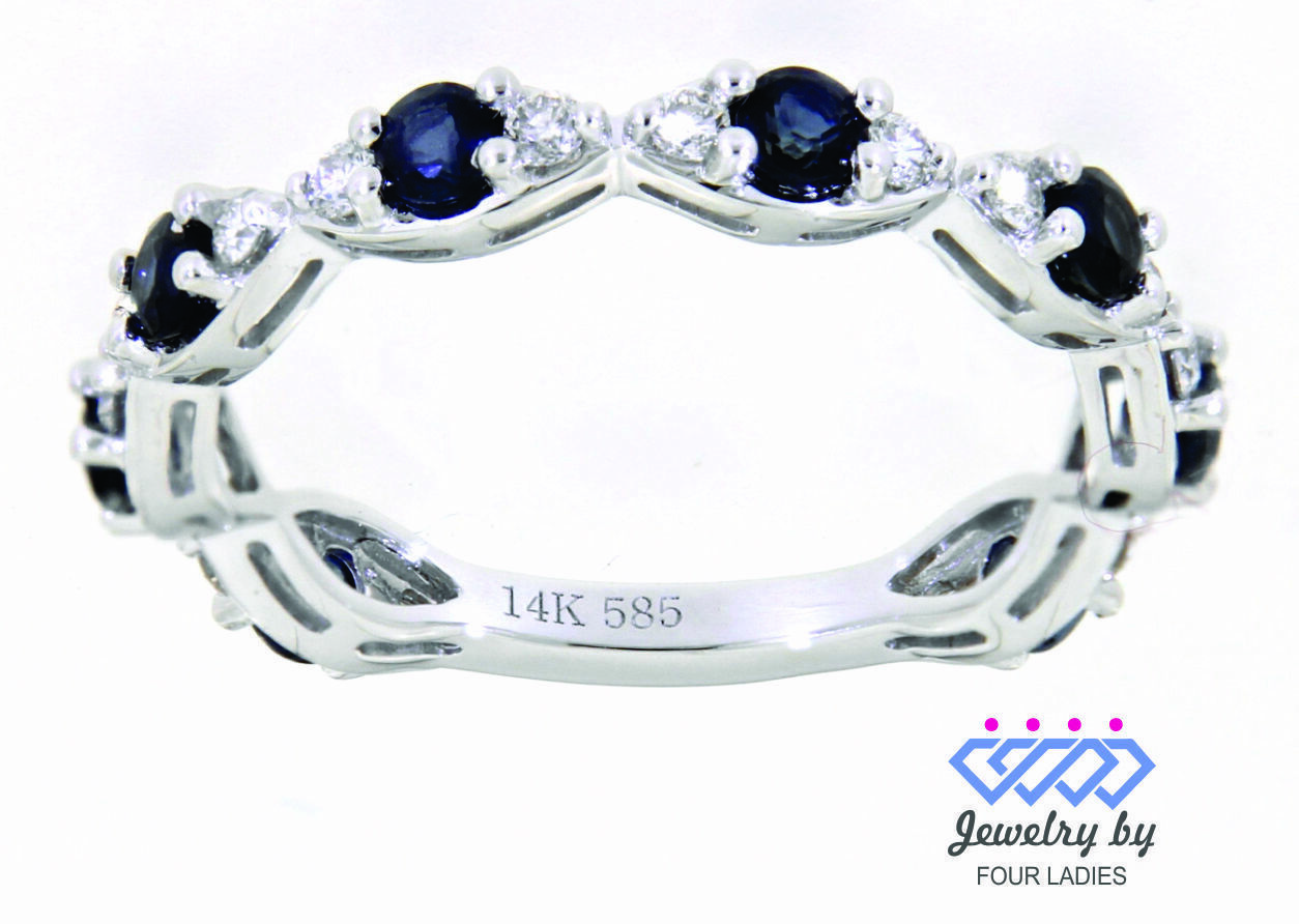 Primary image for Blue Sapphire Gemstone 14K White Gold 0.91 Carat Diamond Eternity Band Jewelry
