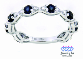Blue Sapphire Gemstone 14K White Gold 0.91 Carat Diamond Eternity Band J... - $1,771.00