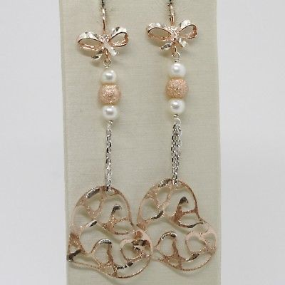 925 STERLING SILVER ROSE PENDANT EARRINGS, BOW, BIG WORKED HEART, WHITE PEARLS
