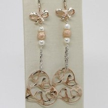 925 STERLING SILVER ROSE PENDANT EARRINGS, BOW, BIG WORKED HEART, WHITE PEARLS image 1