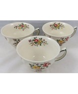 3 Antique Royal Doulton Flat Tea Cups Old Leeds Spray D6203 Made in England - $29.64