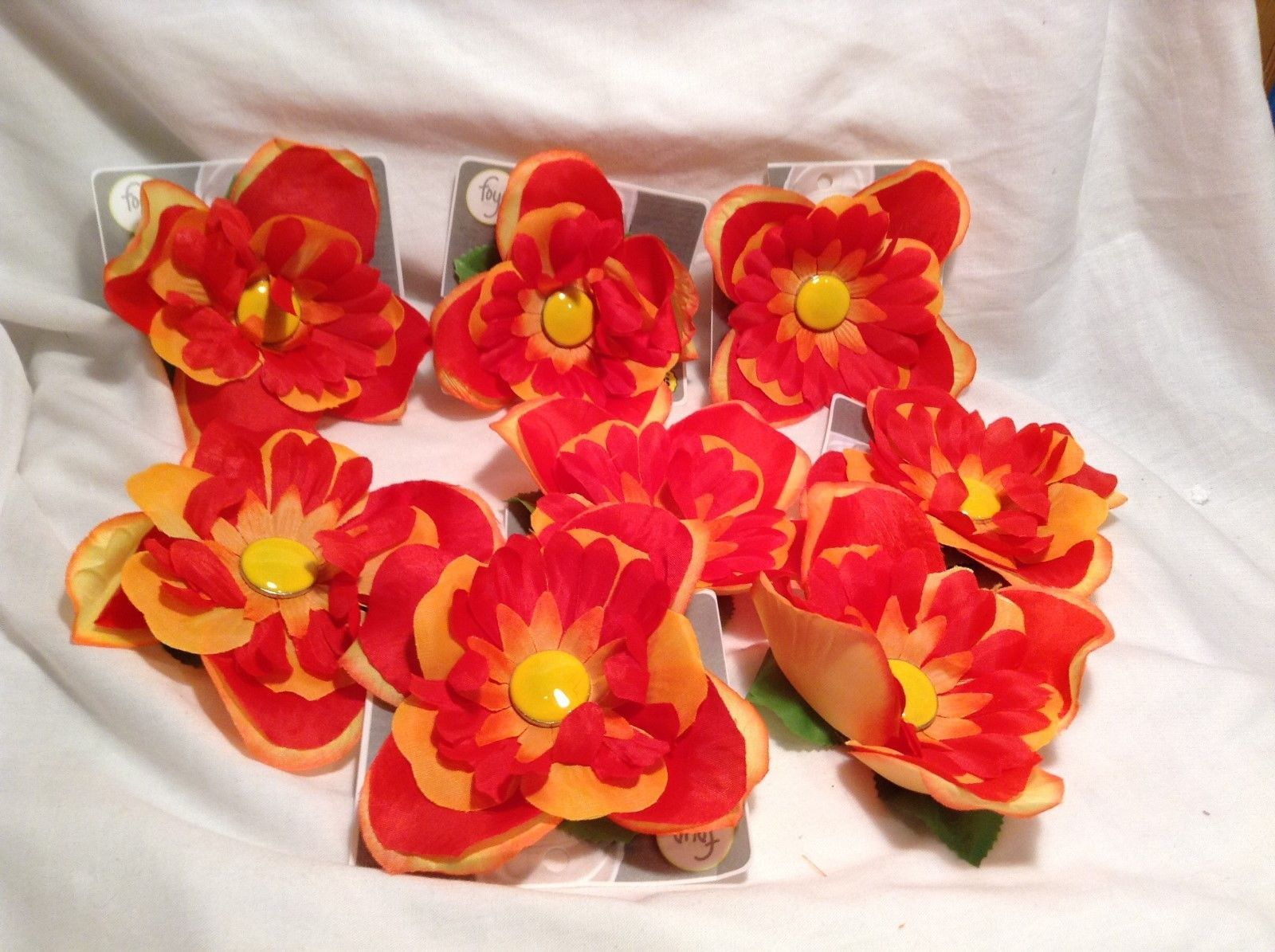 NEW Foyo Yellow/Red Petal Flowers Shoe Charms Set of 8