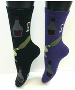 2 PAIRS Foozys Women's Socks WINE Print, Purple, Black, NEW - $8.99