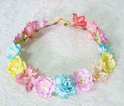 Colorful flower crown Rose Lily poppy headpiece Festival Flower mulberry... - $11.00