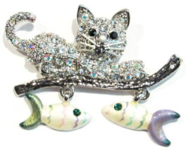 Cat Pin Brooch Dangling Fish Charms Crystal Silver Tone Metal - $19.99