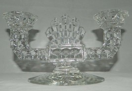 Vintage Heavy Clear Pressed Glass Double Candlestick Holder 2 Candle Cen... - $10.18