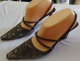 Vintage Swarovski Crystal Encrusted Fendi Heels Size L 9 R 8 ½. PRE=OWNED - $49.49