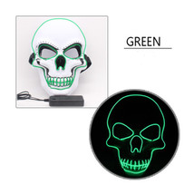 LED Halloween Scary Glow Skeleton Mask Cosplay Party Costume Supplies green - £10.33 GBP