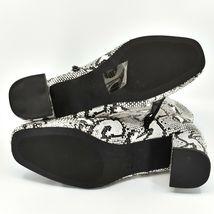 "Boohoo Faux Black & White Snakeskin Snake Skin Print 2.5"" Heel Boots Size 10 image 7"