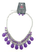 Paparazzi Silver Tone Purple Beaded Statement Necklace Earrings Set - $13.86