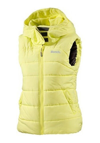 Bench Womens Reflective Yellow Trickster II Gillet Bubble Vest w Hood NWT