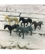 Mini Model Horse Figures Lot Of 5 Ponies Black Stallions Spotted Animal ... - $14.84