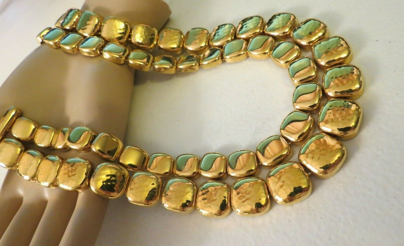 """Monet Necklace Gold Plated Double Links 17"""" Designer Square Hammered NICE image 6"""