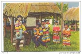 Musa Isle Seminole Indian Village Miami Florida FL Linen Native America Postcard - $5.52