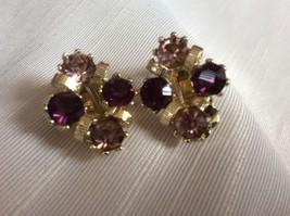 VTG Gold Tone Purple Pink  crystal Rhinestones clip on earrings - $16.63