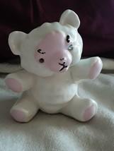 vintage porcelain white & pink bear bank (no stopper) - $8.81