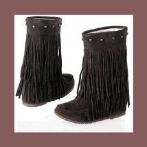 Mid Calf Moccasin Tassel Fringe Style Mountain Boot - Coffee/Brown