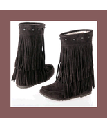 Mid Calf Moccasin Tassel Fringe Style Mountain Boot - Coffee/Brown - $68.95