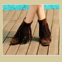 Mid Calf Moccasin Tassel Fringe Style Mountain Boot - Coffee/Brown image 2