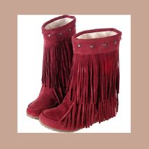 Mid Calf Moccasin Tassel Fringe Style Mountain Boot - Maroon/Red