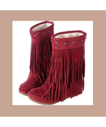 Mid Calf Moccasin Tassel Fringe Style Mountain Boot - Maroon/Red - $68.95
