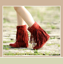 Mid Calf Moccasin Tassel Fringe Style Mountain Boot - Maroon/Red image 2