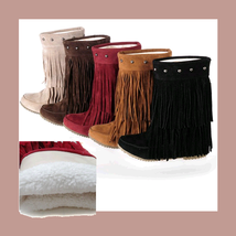 Mid Calf Moccasin Tassel Fringe Style Mountain Boot - Maroon/Red image 3