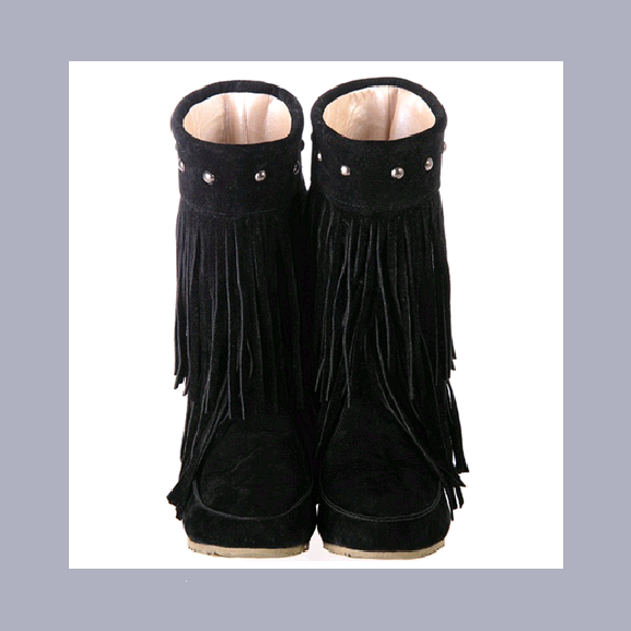 Mid Calf Moccasin Tassel Fringe Style Mountain Boot - Black