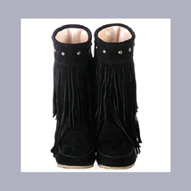 Mid Calf Moccasin Tassel Fringe Style Mountain Boot - Black - ₨4,459.68 INR
