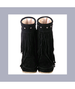 Mid Calf Moccasin Tassel Fringe Style Mountain Boot - Black - $68.95