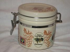"Grape Design Chateau 5.25"" Ceramic Locking Lid Tan Color Canister - $14.92"