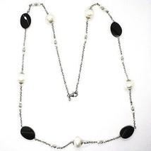 Halskette Silber 925, Onyx Schwarz Oval Facettiert, Perlen, 80 cm, Kette Rolo image 2