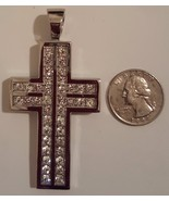 316L Stainless Steel Hip Hop CZ Cross Charm Pendant 3 in 6mm thick 55 g ... - $59.99