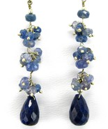 Hand faceted Sapphire Briolettes and Rounds Sterling Silver Dangle Earri... - $73.92