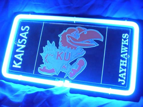 Sd366 ncaa kansas ku jayhawks 3d beer bar blue neon light sign 11   x 8   free shipping worldwide