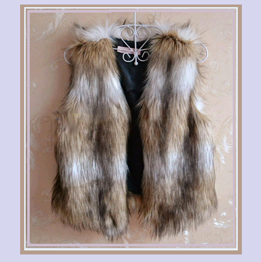 Latte Russian Lynx Faux Fur Vest - Fun Fashion Furs Worn with Everything! - $48.95