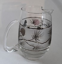 Vintage Libbey Silver Pinecone Frosted Glass Pitcher - $13.00