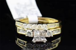 Women's Bridal Wedding Ring Set Princess Cut White CZ 14k Yellow GP 925 Silver  - $132.99