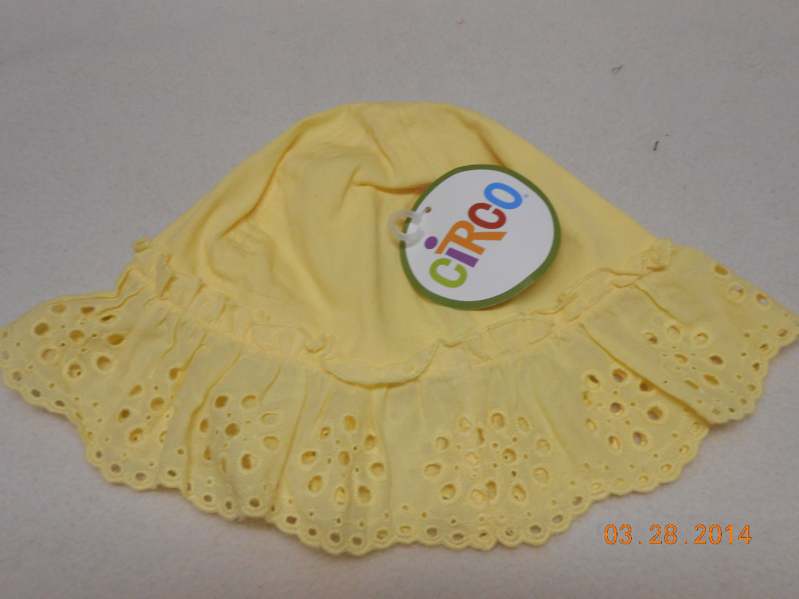 Primary image for NEW BRIGHT YELLOW CIRCO BABY TODDLER SUN BONNET SZ 18 MONTHS EYELET BUCKET HAT