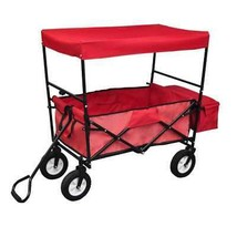 Collapsible Folding Wagon Cart w/Canopy Outdoor Utility Garden Beach Toy... - $88.99