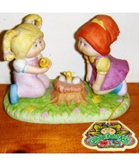 Vintate 1984 Cabbage Patch Kids Porcelain Figurine Girls with Baby Bird ... - $8.95