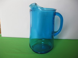 "Elegant Glass Aqua Marine Blue 9 1/2"" Pitcher w... - $47.99"