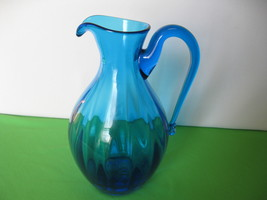 "Elegant Glass Aqua Marine Blue 10 1/2"" Pitcher ... - $47.99"