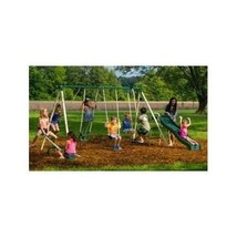Backyard Swing Set Playground Slide Playset Kids Fun Seesaw Steel Frame ... - $210.99