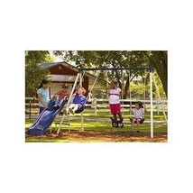 Outdoor Kids Swing Set Fun See Saw Steel Frame Playground Slide Exercise... - $187.95
