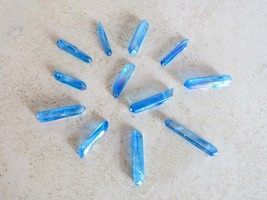 Blue Aura Quartz Natural Gemstone Crystal Healing Wand Reiki Energy Hand... - $6.92