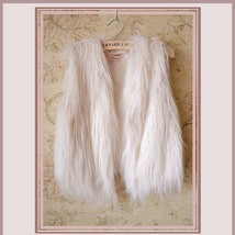 Silver-White Fox Hair Faux Fur Vest - Fun fashion furs worn w/ everything! image 1