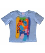 Meow Meow Size M Girls Blue New York Logo Hand Painted Artistic Top  - $13.99